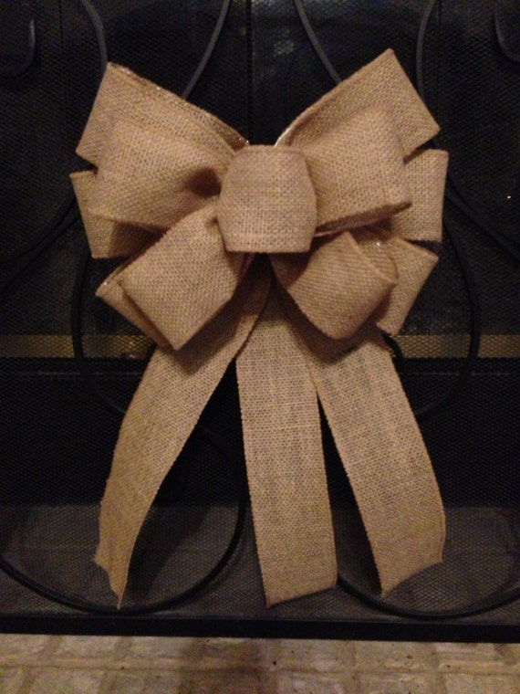 burlap bow tree topper wedding bow burlap pew bow burlap. Black Bedroom Furniture Sets. Home Design Ideas