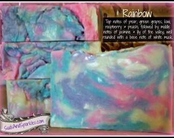Rainbow - Rustic Suds Natural - Organic Goat Milk Triple Butter Soap Bar - 5-6oz. Each