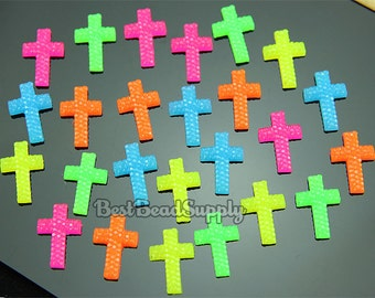 50pcs 18x13mm Resin Flourescent Neon Cross Cabochon Beads For Scrapbooking or Kawaii Phone Cases