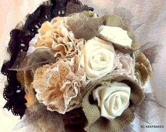 Wedding Bouquet, Bridal Bouquet, Fabric Bouquet, Burlap Bouquet, Burlap and Lace Bouquet, Vintage Bouquet