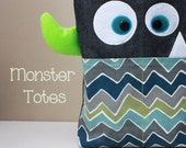 Monster Tote Bag, Preschool Bag, Beach Bag, Halloween Bag, Boy's Novelty Bag - Made to Order - Choose your accent color