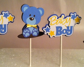 BABY BOY Cupcake Toppers - Teddy Bear Cupcake Toppers - Baby Shower Cupcake Toppers Set of 12