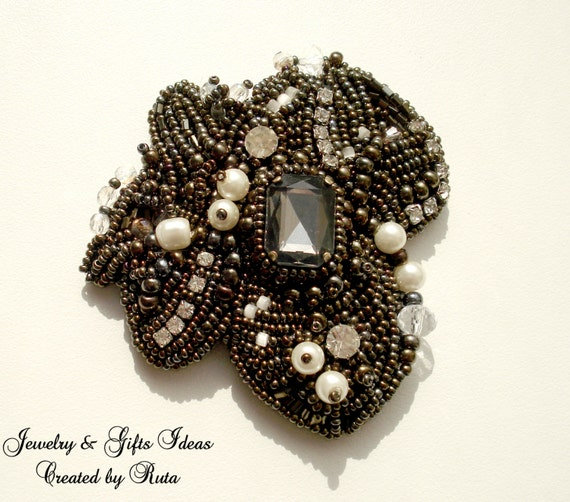 Bead embroidery brooch magic by rutajewelry on etsy
