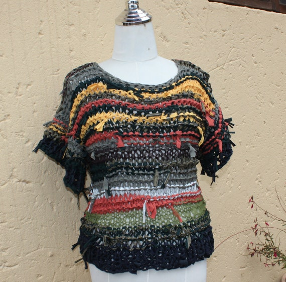Knitting Wearable Art : Summer top textured clothing wearable art chunky knit