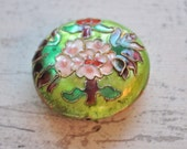 1 Pieces Enamel Cloisonne Jewelry Bead, Vintage Crafting Supplies, Jewelry Findings, Enamel Beads