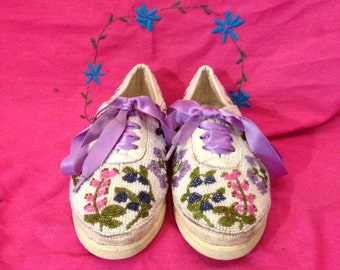 Hand beaded floral shoes
