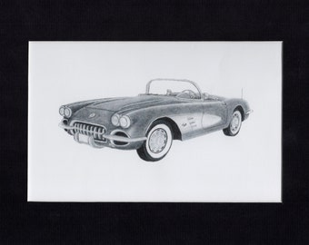Car art of a 1959 Corvette  ( can also be a 1958 and 1960 )