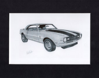 Car art drawing of a 1968 Camaro SS