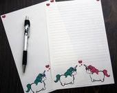 10 Sheet Stationery Set - Standard or Long size - Featuring Unicorn Love Original Art