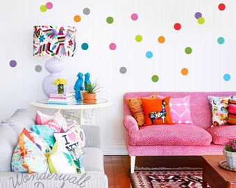 Polka Dot Wall Decals For Kids Rooms : NEW Colorful Polka Dots Wall Decal - Removable Wall Sticker - Easy to ...