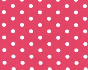 Cotton Robert Kaufman fabric-HOT PINK POLKA dot-1 yd