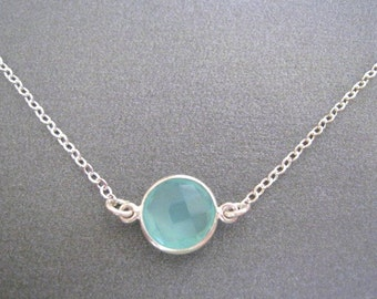 Aqua Chalcedony Necklace, Chalcedony Necklace, Aqua Faceted Sterling Chain, Bridesmaids Jewlery