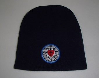 Lutheran Cross ~ Lutheran Rose Embroidered on Navy Blue Knit Hat #KH44