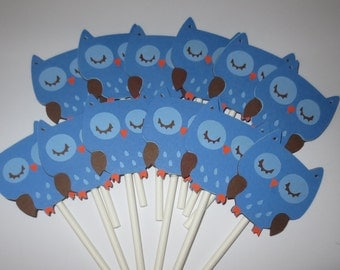12 Blue Boy Owl Cupcake Toppers