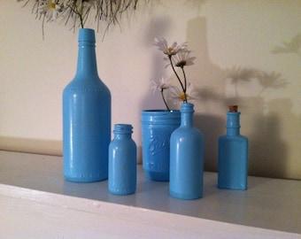Blue vintage bottles