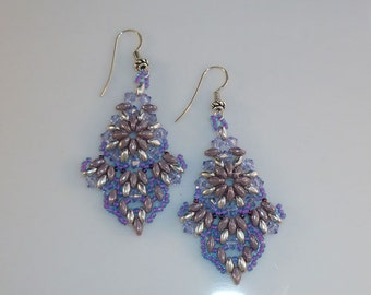 India Elegance Earrings in Purple and Silver