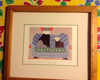 Lara Fiume signed framed lithograph- Dog and Cat on Sofa