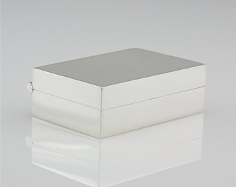 Elegant Sterling Silver Pill Box - Simple Modern Box - Presentation Box - Hinged Treasure Box - Sleek Contemporary Metalwork