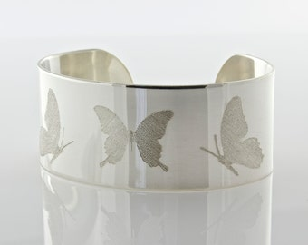 Butterfly Cuff Bracelet - Sterling Cuff Bracelet - Modern Bracelet - Cuff Bracelet - Wide Band Cuff- Woman's Cuff - Made To Order