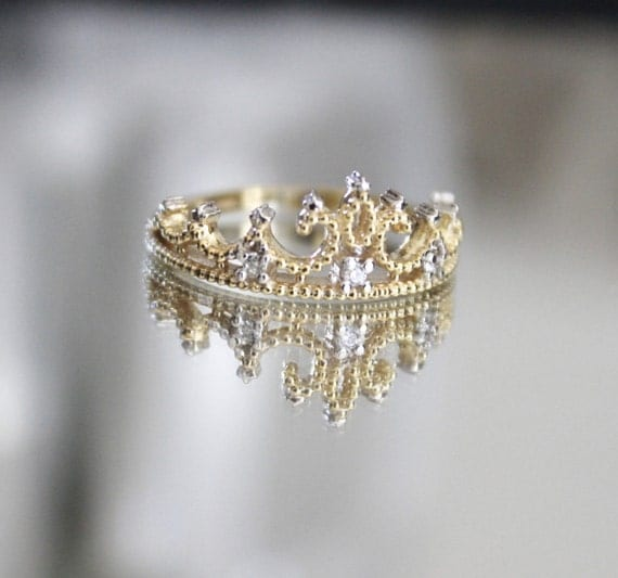 Items similar to Princess Crown Ring Gold Plated on Etsy