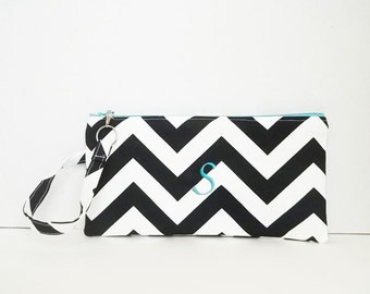 Wristlet - Personalized Chevron Pouch with initials - Embroidered Makeup bag - Large
