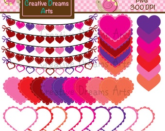 40% Off Scalloped SweetHearts Digital Clip Art Instant Download