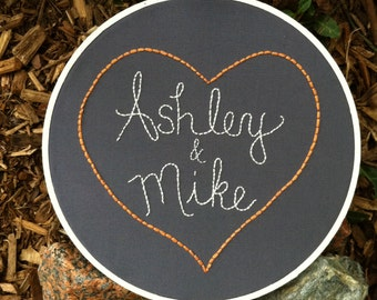 Hand Embroidery. Personalized. Anniversary Gift. Wedding Gift. Engagement. Hoop Art. Wall Art. Couples. Love.Custom Embroidery. Heart.