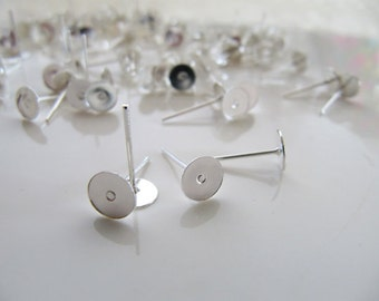 100 pcs Silver Earring Posts Earring Studs Cabochon Ear Studs, 10mm Pads