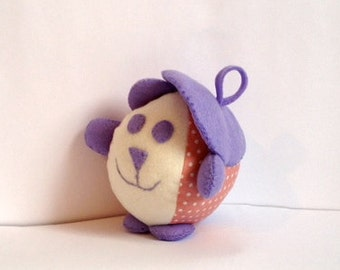 Baby bear with beret. French, felt and fabric