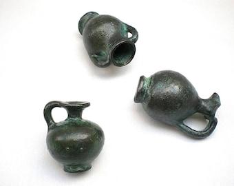 Set of Three Ancient Greek miniature Vases, Aryballos Oinochoe Amphora
