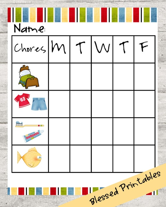 This is an image of Versatile Printable Chore Pictures