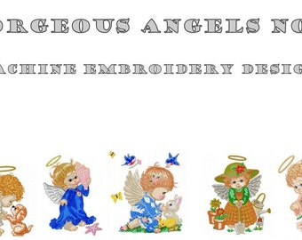 Machine Embroidery Designs - Gorgeous Angels No1 - Instant Digital Download - Pes / Jef / Hus / Dst / Exp / Vip / Vp3 / Xxx Formats