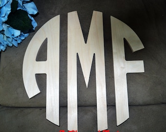 24 inch Circle Cut Wooden Monogram - Wedding, Nursery, Home Decor