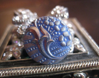 Cornucopia of Flowers in Cornflower Blue Czech Glass Button 18mm