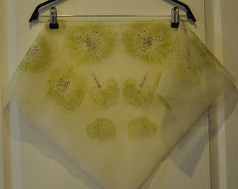 Vintage Transparent scarf with flowers (1960s)