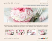 Vintage Chic Boutique Template with Home Page Slideshow includes full install to Big Commerce Shopping Cart with 4 home page layout choices