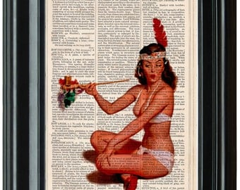 Pin Up Girl 1940's dictionary art print book page antique vintage dictionary print wall art, Retro decor