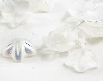 Czech glass cupped flowers bead caps frosted white AB finish glass flowers beads 20 PIECES craft supplies jewelry making