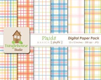 Plaid Digital Paper Pack | Instant Download | Digital Scrapbooking | Playful Plaid Patterns