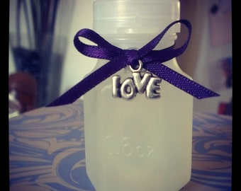 40 Wedding Bubble Bottles with Plum purple Ribbon and Silver Love charm