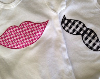 Boy Girl Twins Bodysuit - Lips Bodysuit and Mustache Bodysuit - Boy Girl Twin Outfits - Gender Reveal Outfits - Lips and mustache Bodysuit