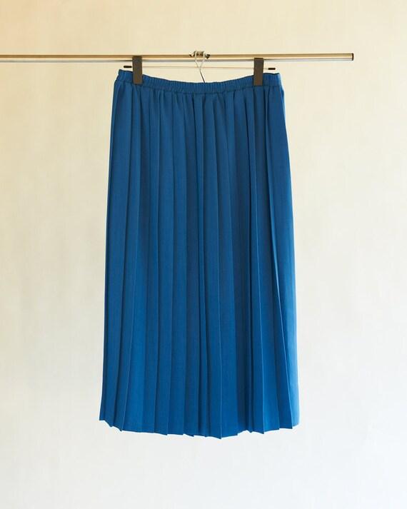 vintage pleated skirt cobalt blue 1980s