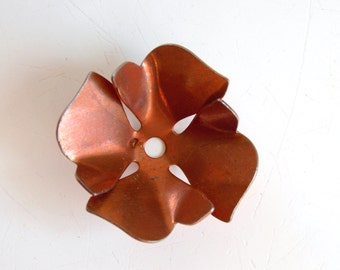 10 Vintage copper plated flowers, 20mm, 4 petals flower, jewelry making, craft, vintage destash, copper supplies, vintage copper steampunk
