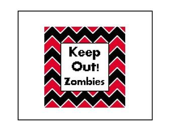 Zombie Cross Stitch Pattern - Funny Text CrossStitch Chevron Stripe Pattern, Instant Download PDF