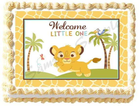 Baby Lion Safari Jungle Edible Image Cake Topper By