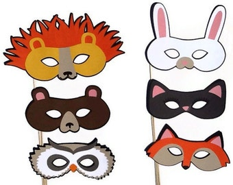Photo Booth Props - 6 Piece Animal Masquerade Masks