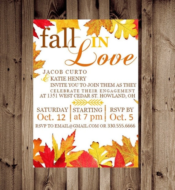 Items similar to Printable Custom Fall in Love Engagement Party – Engagement Party Invitations Etsy
