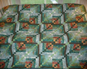 Handquilted Modified Log Cabin design quilt