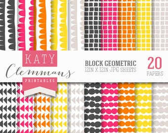 BLOCK GEOMETRIC digital paper pack, printable patterns for DIY craft & scrapbooking - instant download.