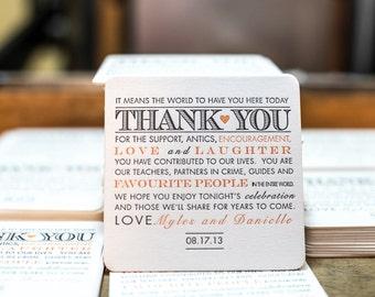 100 Letterpress wedding coasters Reserved for Esther
